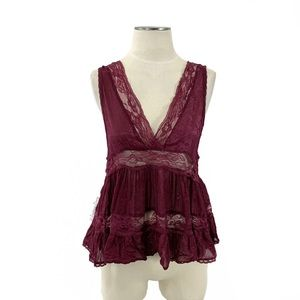Intimately Free People- Burgundy Lace Babydoll Top